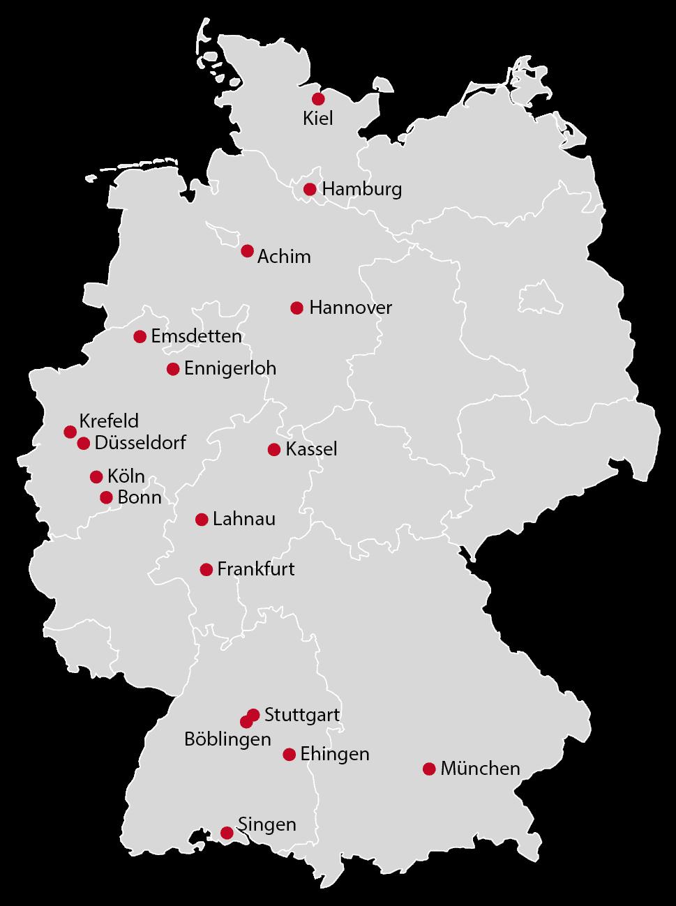 Alle Standorte der BS Gruppe von BleckmnnSchulze PartnerServices im Überblick
