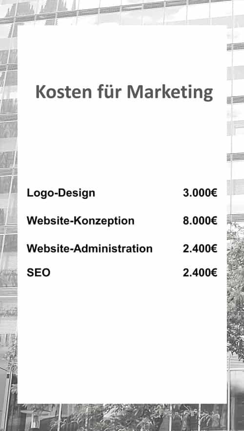 Kosten für Marketing