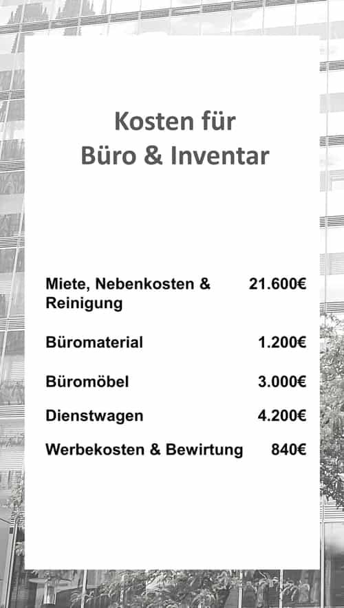 Kosten für Büro